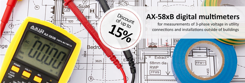 From September 1 to 31, 2017, up to 15% off* on multimeters from the AX-58xB series.