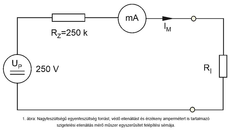 Szigetelés ellenállásmérő egyszerűsített sémája