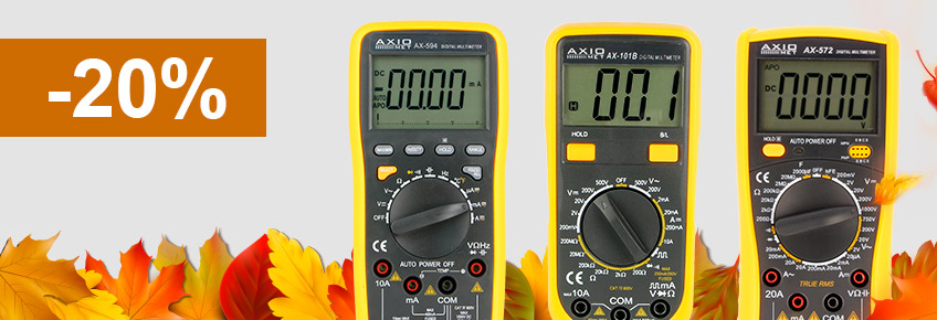 Only between 6-30/11/2018 you can buy AXIOMET multimeters up to 20% cheaper!